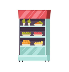 food stall stand fresh vegetables fruits vector image