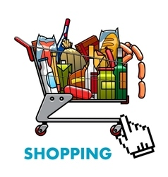 Full shopping cart with food and drinks vector