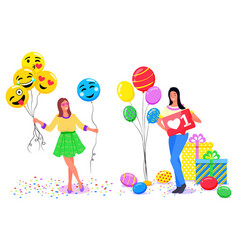 girls taking photos in photozone with accessories vector image