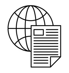 global document icon outline style vector image