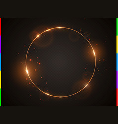 Golden frame with light effect flare and vector