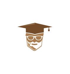 graduation hat teacher head a face smile vector image