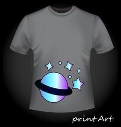 Gray t-shirt with bright neon print - planet and s vector