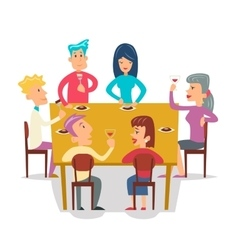 Group Friends Eat Meal Characters Celebration vector image