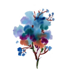 hand drawn blue flowers isolated on white vector image
