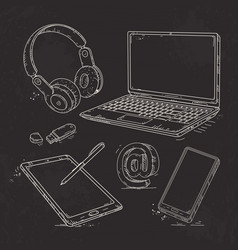 hand-drawn icon set computer technology laptop vector image