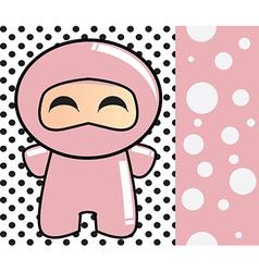 Happy birthday card with cute cartoon ninja vector