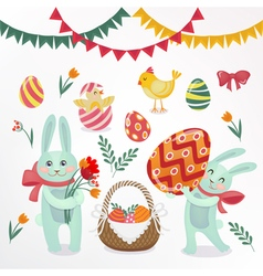 Happy Easter Set of Elements - Rabbits Eggs Chicks vector