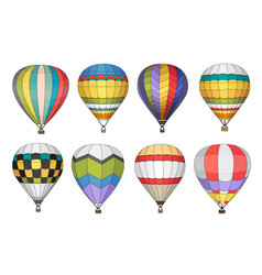 Hot air balloon icons set vector