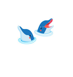 Icons of happy dolphin portraits vector