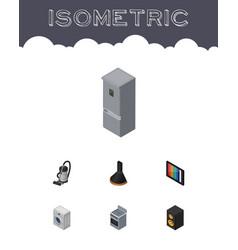 isometric electronics set of music box television vector image