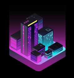 isometric future city industrial office buildings vector image