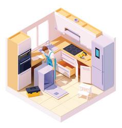 isometric technician repairing dishwasher vector image