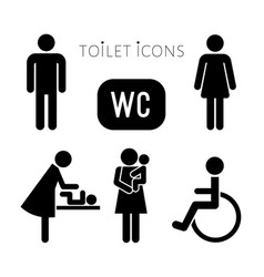 lavatory black icons set vector image