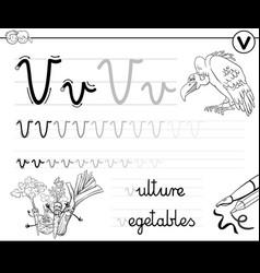learn to write letter v workbook for children vector image