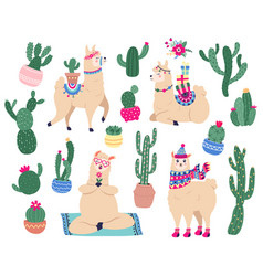 llamas and cactus mexican cute alpaca with desert vector image