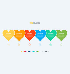 Love infographic template 6 steps heart design vector