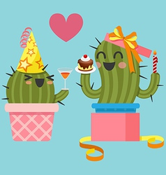 loving couple of cactus at birthday party vector image