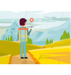 Male character backpacker travel around mountain vector