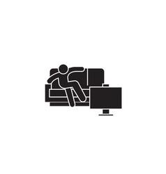 man sitting on sofa black concept icon man vector image