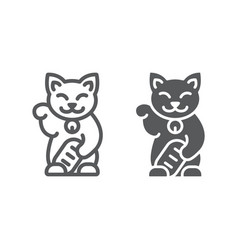 Maneki neko line and glyph icon asian and animal vector