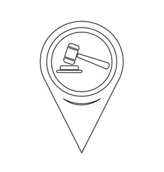 map pointer gavel icon vector image