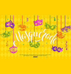 Mardi gras banner design with hanging carnival vector