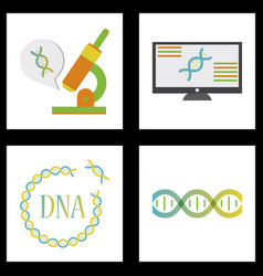 Medical icon set and brain with dna pain vector