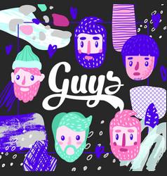 men faces hand drawn design childish background vector image