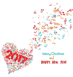 Merry christmas and happy new year 2017 musical is vector