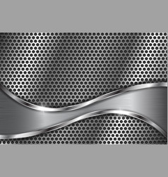 Metal perforated background with abstract curved vector