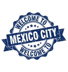mexico city round ribbon seal vector image