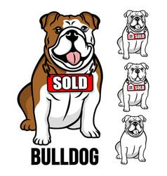 modern american bulldog and real estate logo vector image