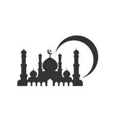 mosque silhouette graphic design template vector image