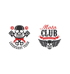 moto club legendary team retro logo collection vector image
