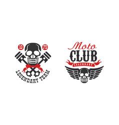 moto club legendary team retro logo collection vector image