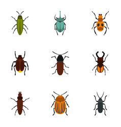 nature beetle icons set flat style vector image