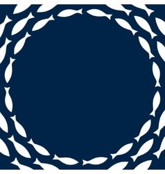 Navy blue and white simple fishes circle frame vector