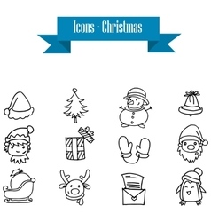 Object Christmas set of hand drawn vector