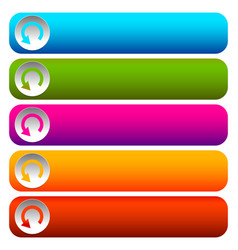 oblong blank buttons with circular arrow in 5 vector image