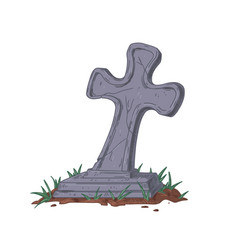 old cracked cross over ancient gravestone vector image