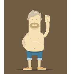 Old drunk man say hello vector