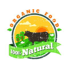 Organic fresh product logofarm fresh vector