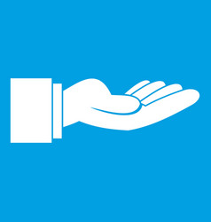 Outstretched hand gesture icon white vector