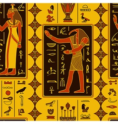 Pattern with egyptian gods and hieroglyphs vector