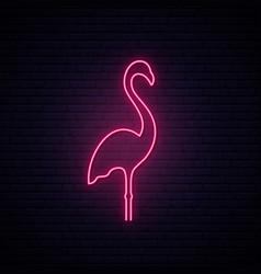 pink flamingo neon sign flamingo signboard or vector image
