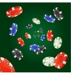 Pocker Chips Rain Winner Concept isolated vector image