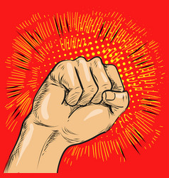 pop art fist hitting or vector image