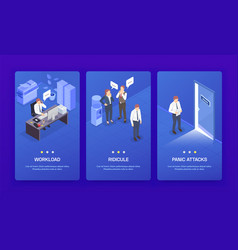 Problem situations at work isometric banner set vector