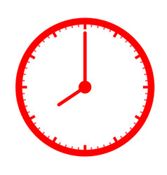 red clock icon on white background clock sign vector image